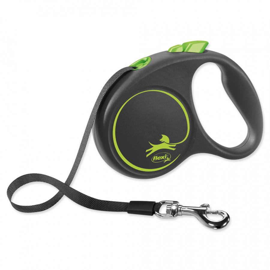 Inerces pavada suņiem - Flexi Black Design S Tape 5m, green