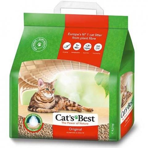 Древестный наполнитель для кошачьего туалета - Cat's Best Oko Plus, 4,3 кг title=