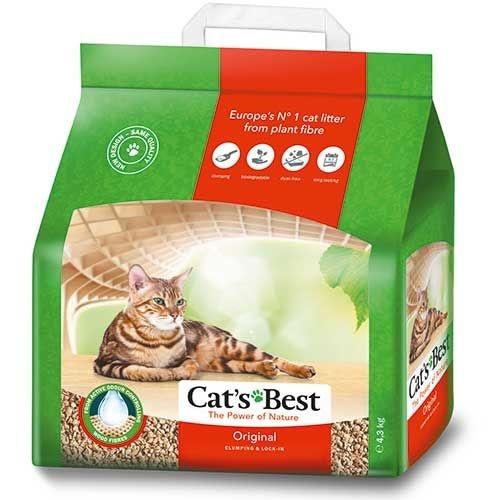 Древестный наполнитель для кошачьего туалета - Cat's Best Oko Plus, 4,3 кг