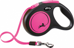 Inerces pavada suņiem – Flexi New Neon Tape M 5 m, Pink
