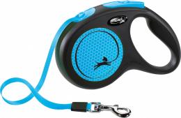 Поводок-рулетка для собак – Flexi New Neon Tape M 5 м, Blue