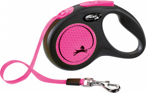 Поводок-рулетка для собак – Flexi New Neon Tape S 5 м, Pink title=