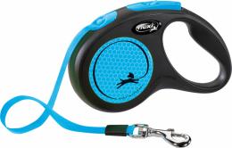 Поводок-рулетка для собак - Flexi New Neon Tape S, 5м, blue