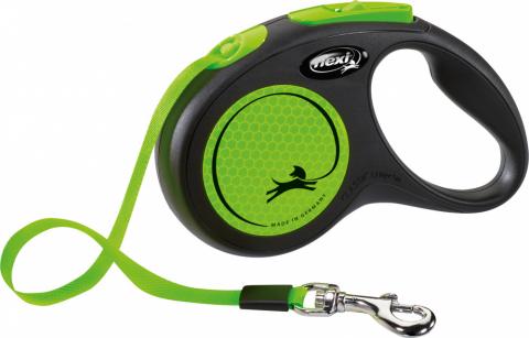 Поводок-рулетка для собак – Flexi New Neon Tape S 5 м, Green title=
