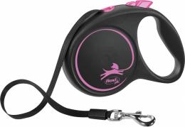 Inerces pavada suņiem - Flexi Black Design M Tape 5m, pink