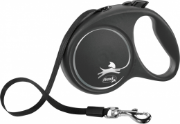 Поводок-рулетка для собак - Flexi Black Design M Tape 5м, black