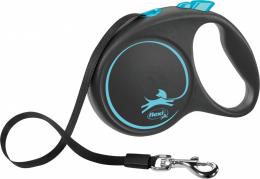 Поводок-рулетка для собак - Flexi Black Design L Tape 5м, blue