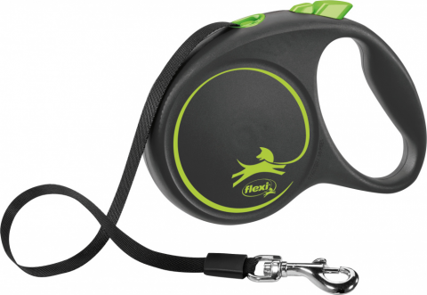 Inerces pavada suņiem - Flexi Black Design L Tape 5m, green title=