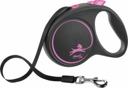 Поводок-рулетка для собак - Flexi Black Design L Tape 5м, pink