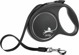 Поводок-рулетка для собак - Flexi Black Design L Tape 5м, black