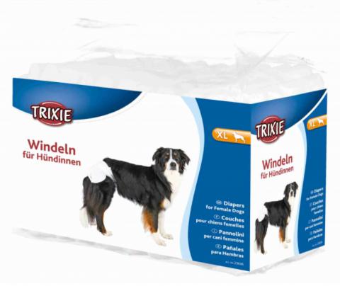 Autiņbiksītes suņiem – TRIXIE Diapers for Female Dogs, XL: 40–58 cm, 12 gab. title=