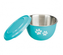 Metāla bļoda - Trixie Stainless Steel/ Plastic Bowl with lid, 0,6l, dažādas krāsas