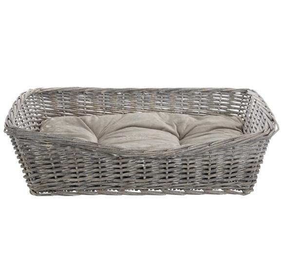 Спальное место для собак – TRIXIE BE NORDIC Basket with Cushion, Wicker, 50 x 37 см, Grey