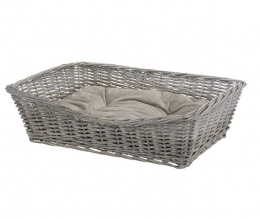 Guļvieta suņiem - TRIXIE BE NORDIC Basket with cushion, wicker, 70x50cm, pelēka krāsa