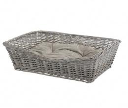 Guļvieta suņiem - TRIXIE BE NORDIC Basket with cushion, wicker, 80x58cm, pelēka krāsa