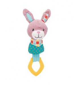 Rotaļlieta kucēniem – TRIXIE Junior Rabbit with ring, fabric/polyester, 23 cm