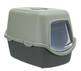 Tualete kaķiem - Trixie Be Eco Vico cat litter tray, with hood, 40x40x56 cm, tumši pelēka ar pelēku