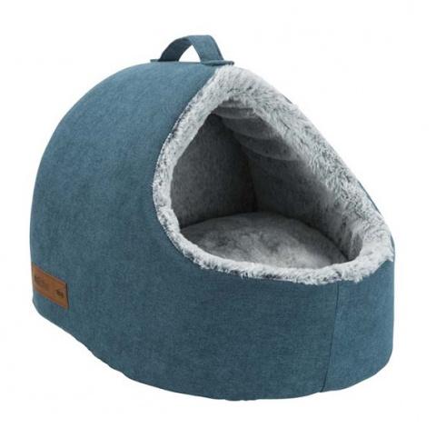 Guļvieta kaķiem – TRIXIE Tonio Vital Cuddly Cave, 35 x 30 x 40 cm, Petrol/White-Grey title=