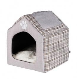 Спальное место для кошек и собак - Trixie Silas cuddly cave, 40x45x40 см, серый/кремовый цвет