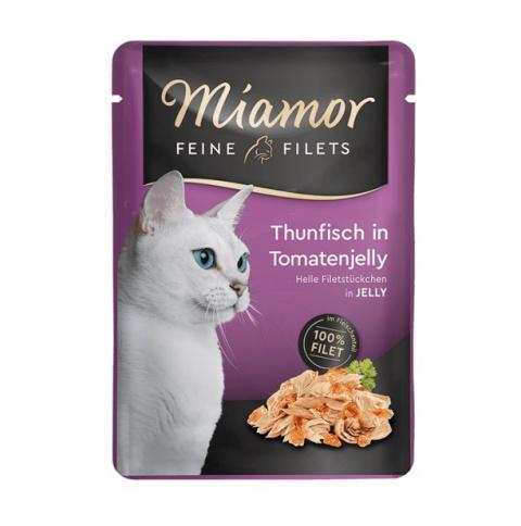 Konservi kaķiem - Miamor Feine Filet, tuncis tomātu želejā, 100 g title=