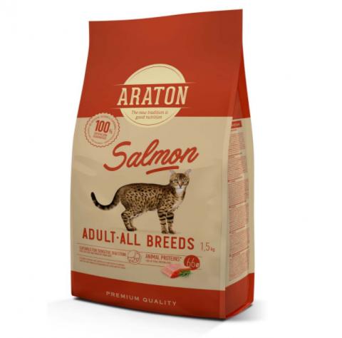 Barība kaķiem - Araton Cat adult ar lasi, 1.5 kg title=