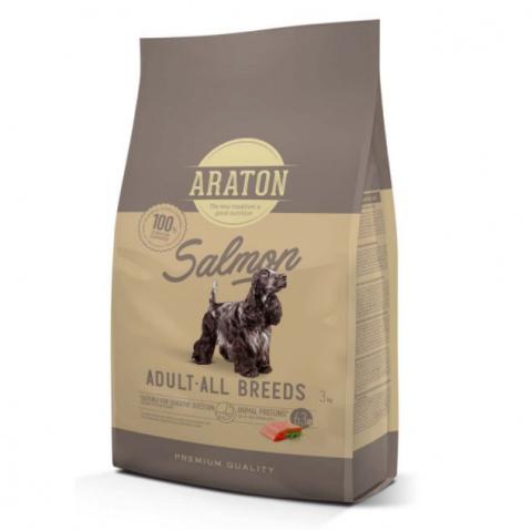 Barība suņiem - Araton Dog adult ar lasi un rīsiem, 3 kg title=