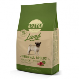 Barība kucēniem - Araton Dog Junior ar jēru un rīsiem, 3 kg