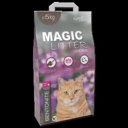 Сementējoši pakaiši kaķu tualetei - Magic Litter Bentonite Original Flowers, 5 kg