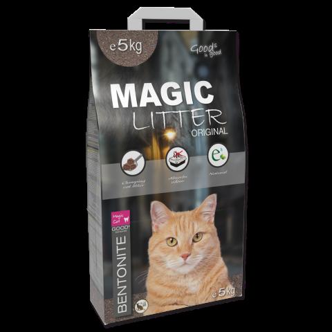 Сementējoši pakaiši kaķu tualetei - Magic Litter Bentonite Original, 5 kg title=