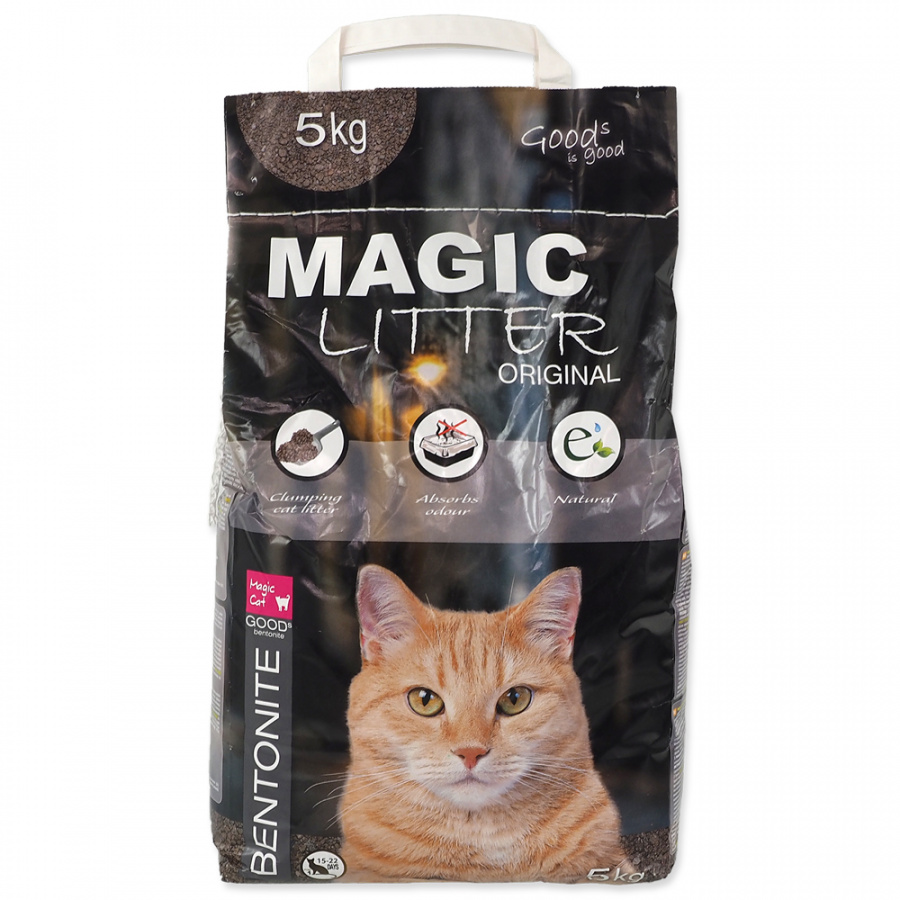 Сementējoši pakaiši kaķu tualetei - Magic Litter Bentonite Original, 5 kg