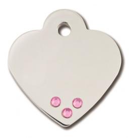 Medaljons – Heart Small, Ar rozā kristāliem