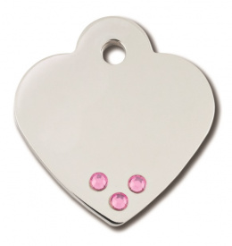 Медальон - Heart Small, С розовыми кристаллами
