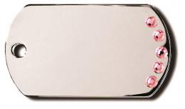 Медальон - Diva Military Tag, С розовыми кристаллами