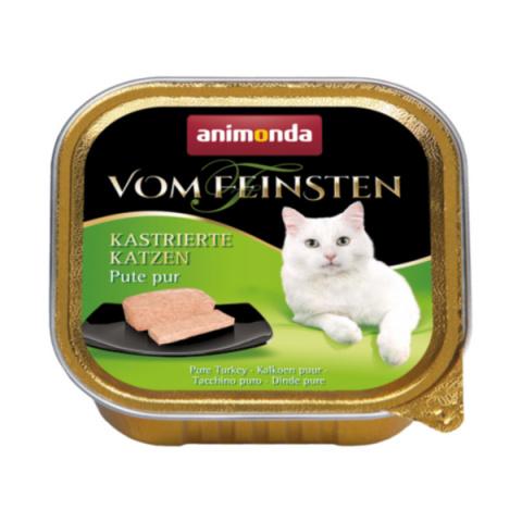 Konservi kaķiem - Vom Feinsten for Castrated Cats Pure Turkey, 100 g title=