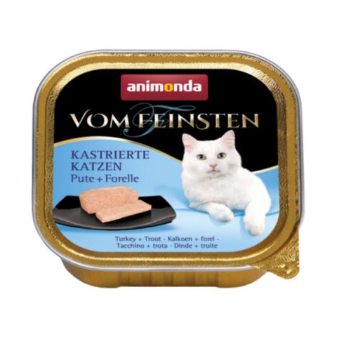 Konservi kaķiem - Vom Feinsten for Castrated Cats Turkey and Trout, 100 g title=