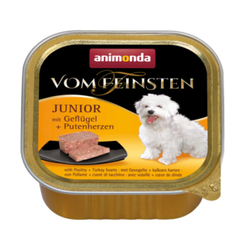 Konservi kucēniem - Vom Feinsten Junior Poultry and Turkey hearts, 150 g title=