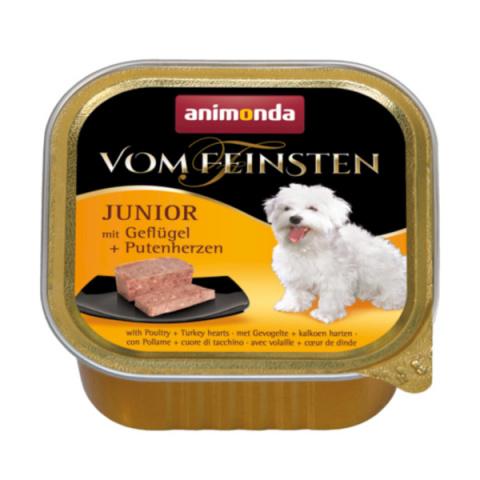 Консервы для щенков - Vom Feinsten Junior Poultry and Turkey hearts, 150 г  title=