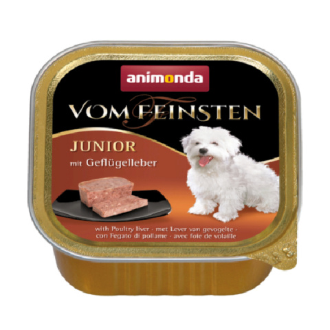 Консервы для щенков - Vom Feinsten Junior Poultry Liver, 150 г title=