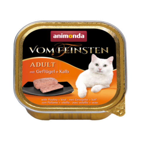Konservi kaķiem - Vom Feinsten Classic Poultry and Veal, 100 g title=