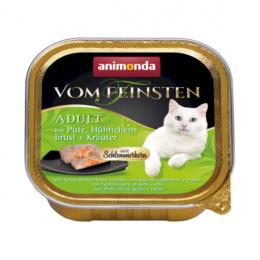 Консервы для кошек - Vom Feinsten Adult Turkey, Chicken breast + Herbs, 100 г