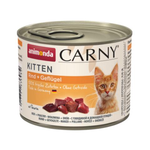 Konservi kaķiem - Carny Kitten Beef and Poultry, 200 g title=