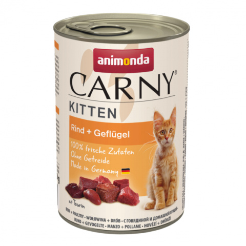 Konservi kaķēniem - Carny Kitten Beef and Poultry, 400 g title=