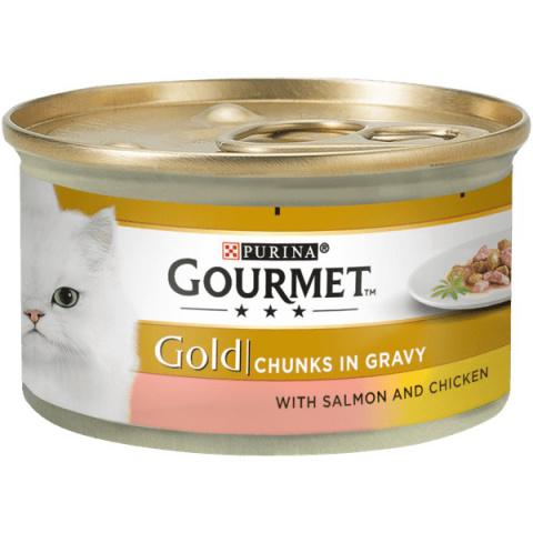 Konservi kaķiem - Gourmet Gold Salmon and Chicken in Gravy, 85 g title=