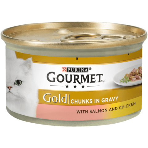 Консервы для кошек - Gourmet Gold Salmon and Chicken in Gravy, 85 г title=