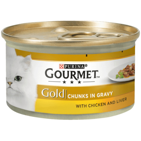 Konservi kaķiem - Gourmet Gold Chicken and Liver in gravy, 85 g title=
