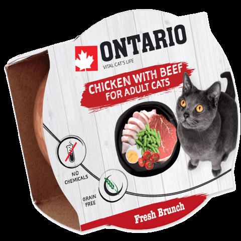 Konservi kaķiem – Ontario Fresh Brunch Chicken with Beef, 80 g title=