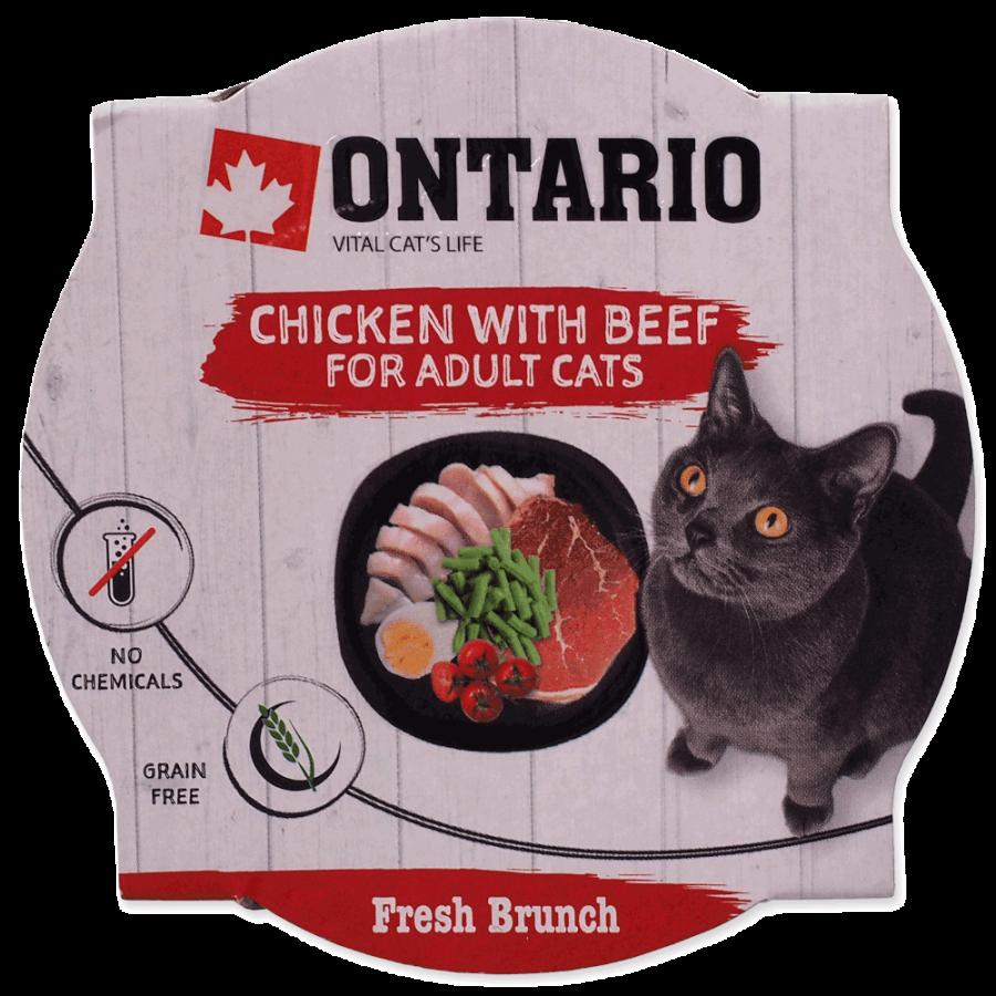 Konservi kaķiem – Ontario Fresh Brunch Chicken with Beef, 80 g