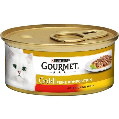 Консервы для кошек - Gourmet Gold Duo Beef and Chicken, 85 г title=