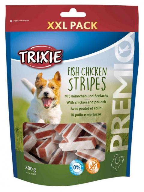 Gardums suņiem - TRIXIE PREMIO Fish Chicken Stripes, XXL Pack, 300 g title=