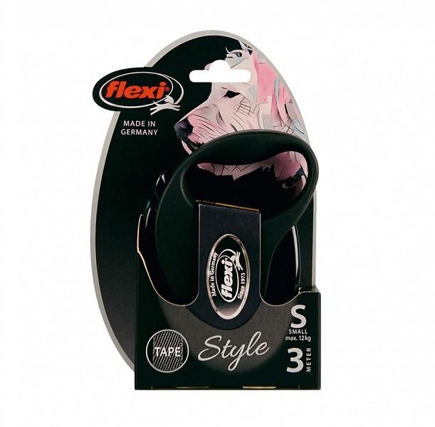 Inerces pavada suņiem – Flexi New Style S Tape 3 m, Black